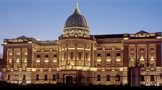 Vooraanzicht van de Mitchell bibliotheek in Glasgow
