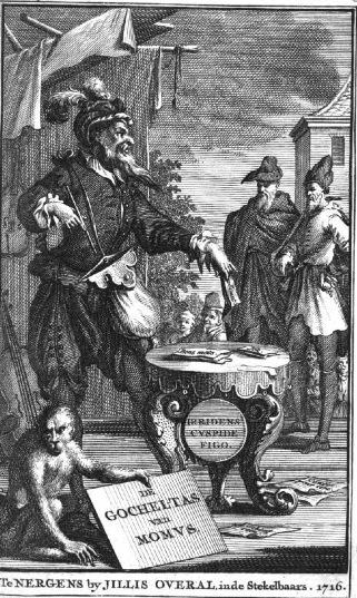 De Joodse boekverkoper uit Den Haag Moselager, afgebeeld in het boek 'Goocheltas van Momus'. In 1716 uitgegeven met het valse impressum 'Te Nergens, bij Jilles Overal', in de Steekel-Baars.'
