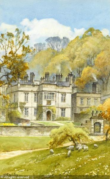 Aquarel van Tissington Hall door Harold Gresley (1892-1967)