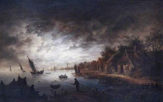 Nachscène. Schilderij van of in de stijl van Aert van der Neer (1603-1677). Art Gallery & Museum Royal Leamington Spa