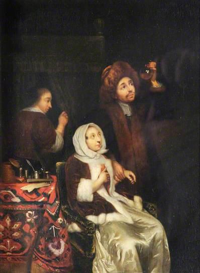 Caspar Netscher (1639-1684): Een bezoek aan de dokter. Een in de Gouden Eeuw veelvuldig geschilderd motief, o.a. door Jan Steen.