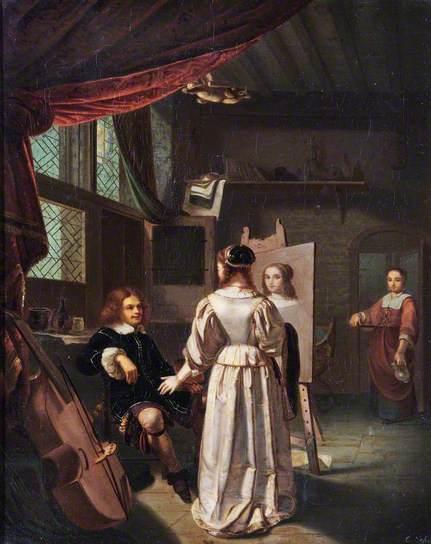 Portret. 19e eeuwse schildering naar Frans Mieris de Oudere. Art Gallery & Museum, Royal Leamington Spa
