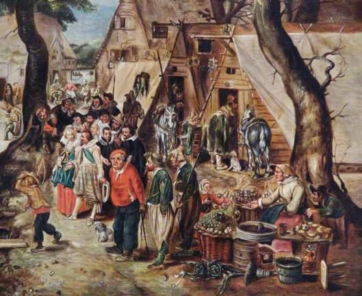 Prins Maurits en Frederik op de dorpsmarkt in Valkenburg