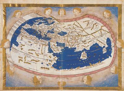 Opengeslagen blad van de wereld uit Ptolemaeus-atlas