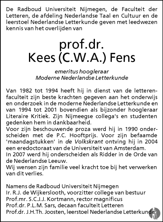 Rouwadvertentie C.W.A. Fens namens Radboud Universiteit Nijmegen,  2 juli 2008