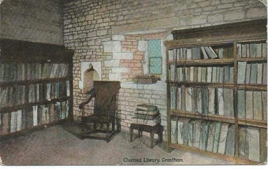 Oude ansichtkaart van 'Chained Library' in Grantham, Engeland