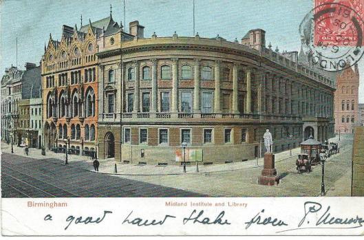 De bibliotheek van Birmingham omstreeks 1900