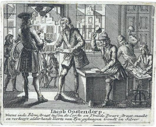 Reclameboek van Jacob Oostendorp voor zijn fijn geslagen goud en zilver, 18e eeuw (Atlas van Stolk)