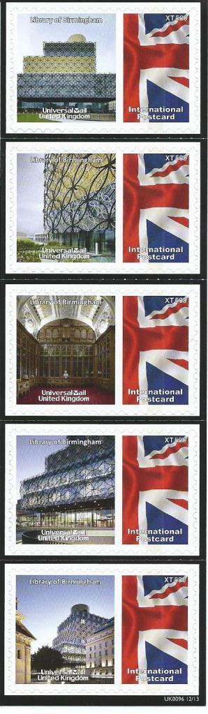 Voor internationale post verschenen in het Verenigd Koninkrijk 5 postzegels gewijd aan de openbare bibliotheek van Birmingham