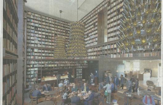 Het hart van het stadshotel in Zürich met ontbijtzaal annex bibliotheek, omschreven als een oase voor 'Business-Nomaden'. (Tages-Anzeiger, 2-3-2012)