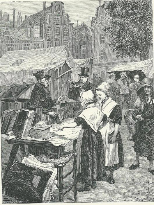 Uit: R.Lovett, Pictutes from Holland, 1887: 'An Amsterdam Bookstall'.