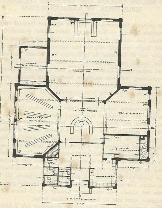 Plattegrond van het bibliotheekgebouw Bussum