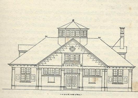 Tekening van voorgevel leeszaal Bussum uit 1913, ontworpen door architect C.J.Kruisweg