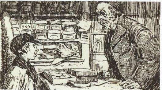 Uit het boek ' De handel en wandel van de boekenjood': Salomo die naast boeken ook papier en schrijfbehoeften in zijn winkel in de Amsterdamse Jodenbuurt verkocht. Uit een 'bekeringsboekje' uit 1922 van Vincent Loosjes, getiteld 'De geboren koning der joden. Amsterdamsche kerstvertelling'.