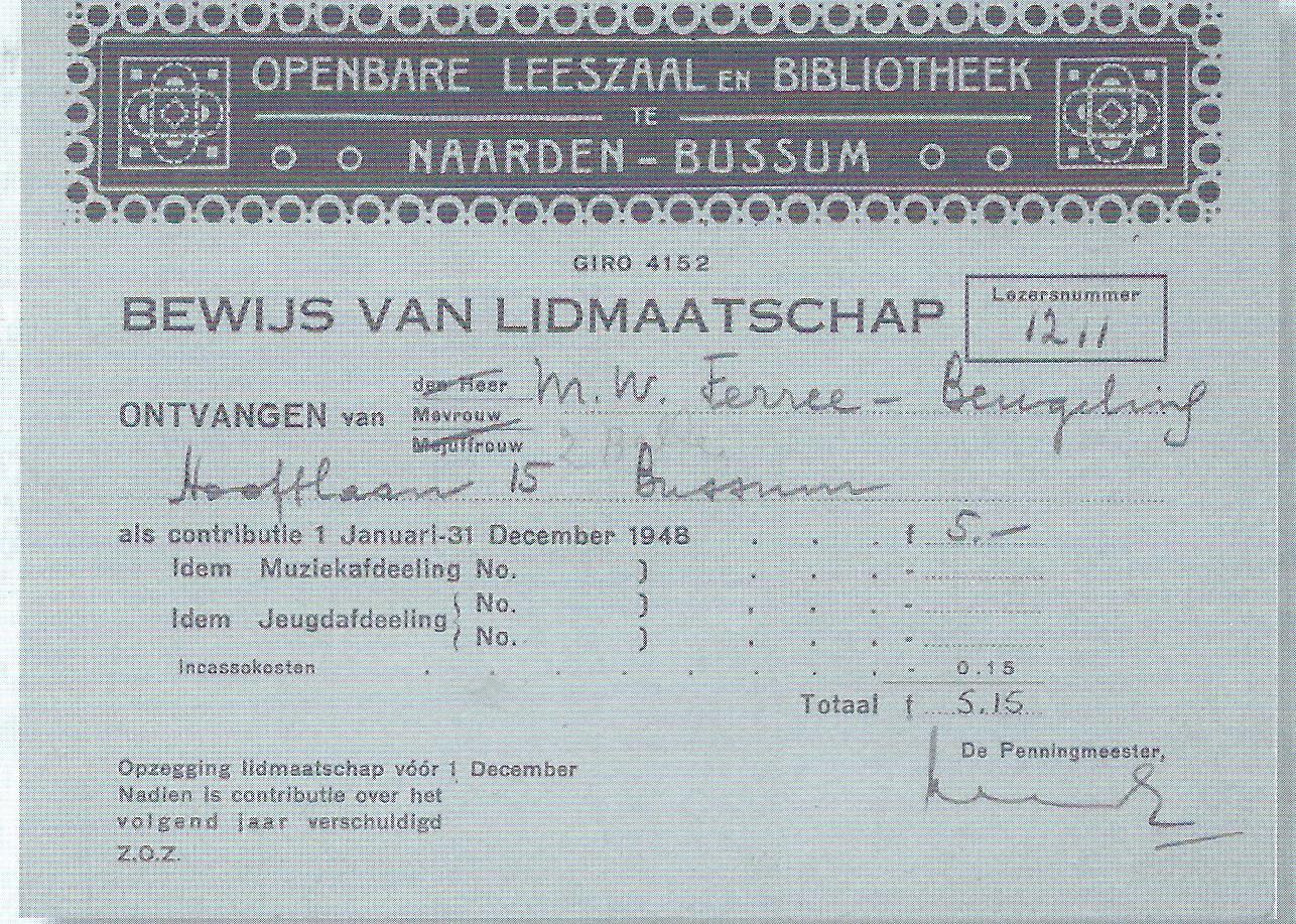 Lidmaatschapskaart uit de begintijd van de openbare bibliotheek Naarden-Bussum
