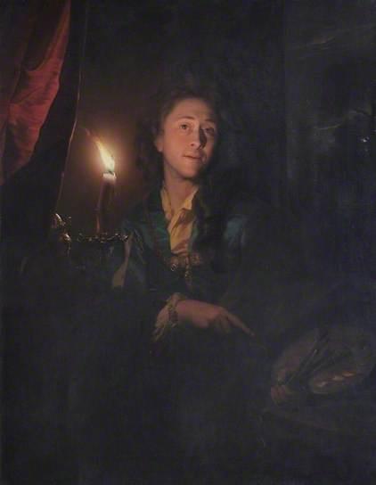 Godfried Schalcken (1643-1706): Zelfportret bij kaarslicht, 1695. Leamington Spa Art Gallery & Museum