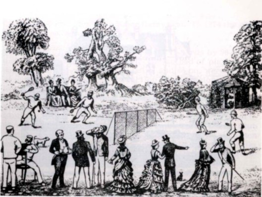 Tekening van de eerste tennisclub, in 1872 opgericht in Leamington Spa