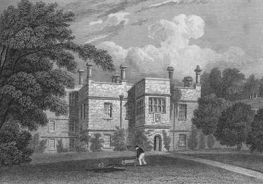 Staalgravure van Tissington Hall. Uit: Jone's views. Seats, mansions, castles. Uitgegeven in 1929.