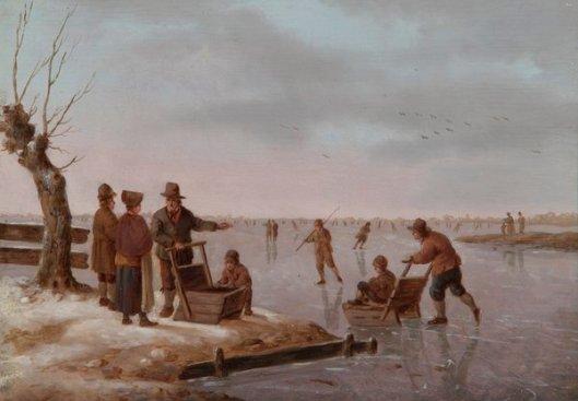Waterscène met schaatsers. Toegeschreven aan Andries Vermeulen (1763-1814)