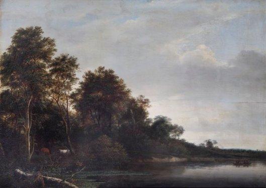 Bosgezicht en rivier. Toegeschreven aan Willem Schellinks (1627-1678). Leamington Art Gallery & Museum