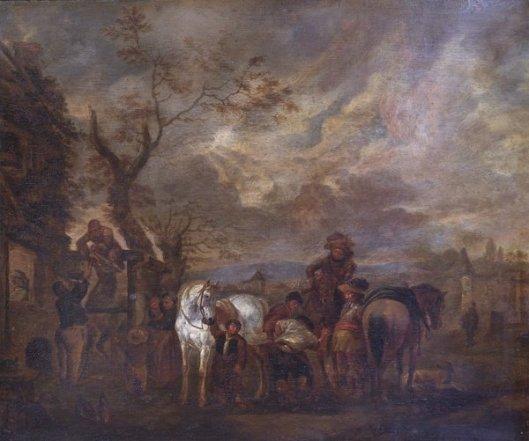 Landelijke scène met personen en paarden. Naar Wouwerman. Leamington Art Gallery & Museum
