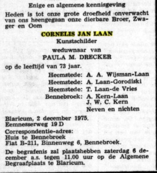 Rouwadvertentie van Cornelius Jan (Kees) Laan. Ui