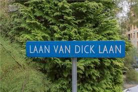 Naambordje van Laan van Dick Laan in Heemstede, geklegen tussen de Blekersvaartweg en Burgemeester van Lenneplaan