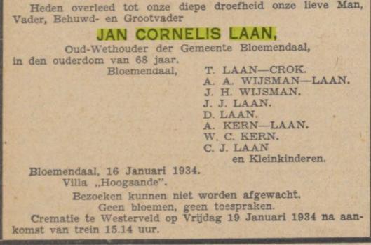 Overlijdensadvertentie Jan Cornelis Laan (vader van Dick Laan). Uit: Algemeen Handelsblad, 18-1-1934