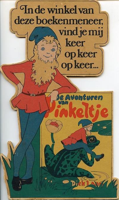 Reclameplaat Pinketje-boeken (toonbank stand-up van de uitgever Van Holkema & Warendorf uit 1948)