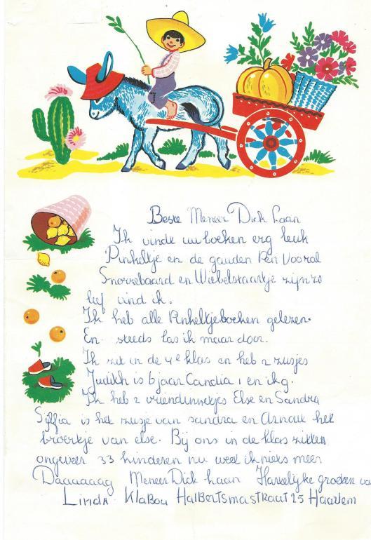 Brief van Linda Klabou uit Haarlem aan meneer Dick Laan