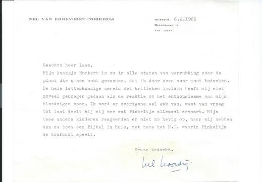 Schrijven van Nel van Breevoort-Noordzij uit Bussum van 6 februari 1969 aan Dick Laan