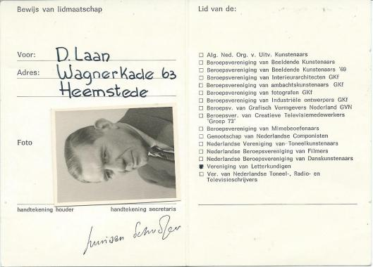 Lidmaatschapskaar Dick Laan van de Vereniging van Letterkundigen uit 1971