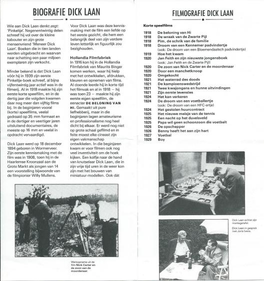 Beknopte biografie en filmografie Dick Laan