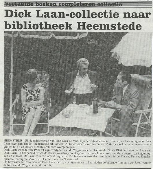 Bericht: Dick Laan-collectie naar bibliotheek Heemstede. Uit Weekblad, 25-9-1993