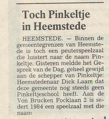 Bericht over Pinkeltje peuterspeelzaal uit Haarlems Dagblad van 3 augustus 1989