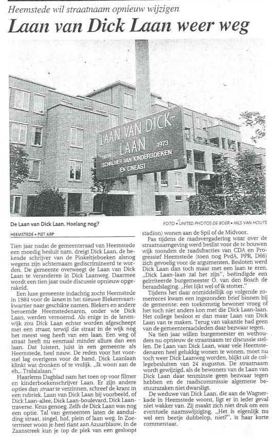 Laan van Dick Laan weg? Uit: het Parool, 15-9-1994