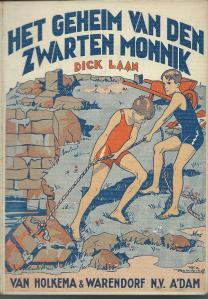 Vooromslag van Dick Laan: Het geheim van den zwarten monnik, met illustraties van Rie Reinderhoff (1930)