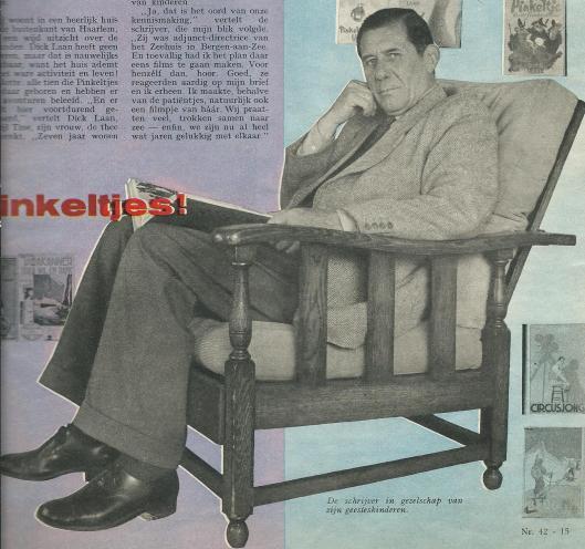 Dick Laan in zijn Heemsteedse huis waar alle Pinkeltje-boeken zijn geboren (Uit: : Libelle van 18 oktober 1958). In totaal 211 losse verhalen zijn in de jaren 70 in het weekblad Libelle verschenen.