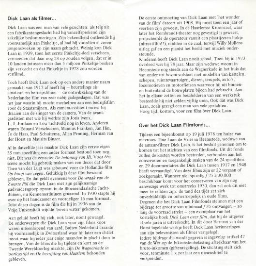 Uit folder van Stichting Dick Laan Filmfonds, opgericht in 1978