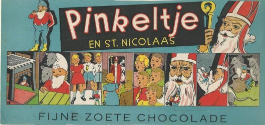 Omslag van een chocoladedoos Boon en Co uit Wormerveer. Dick Laan noteerde als jaar van verschijning 1938 [1 jaar voor het eerste Pinkeltje-boek!]