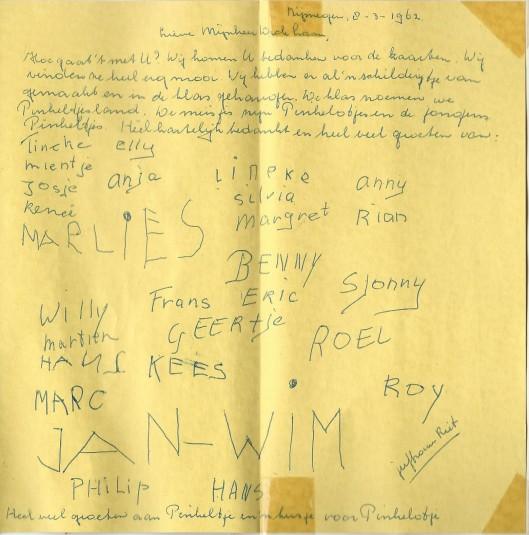 Schrijven van een klas uit Nijmegen aan 'mijnheer Dick Laan',  8 maart 1962