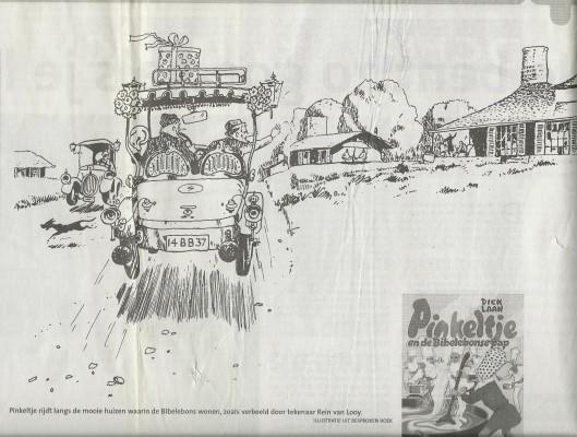 Ilustratie en omslag van de editie uit 2006 van 'Pinkeltje en de Bibelebonse pap' (Haarlems Dagblad, 3 juli 2010)