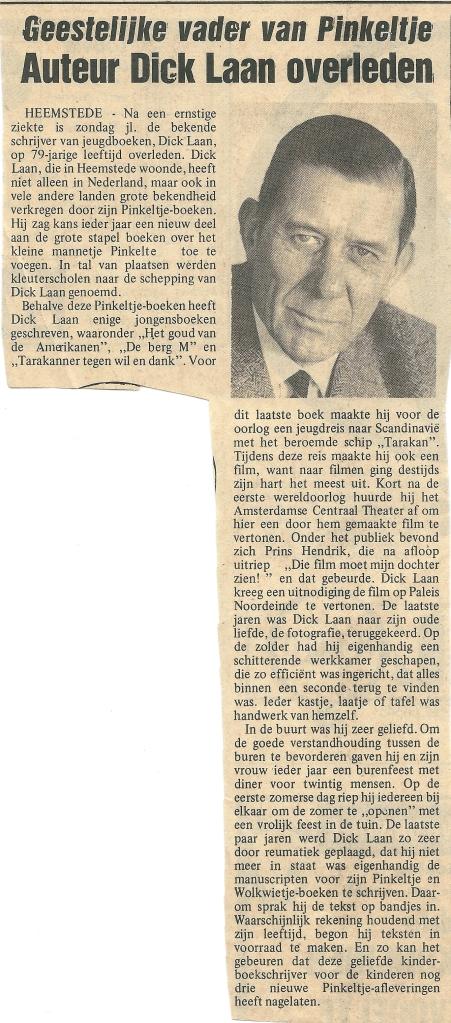 Necrologie Dick Laan in de Heemsteedse Courant van 10 oktober 1973