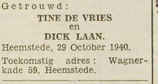 Bericht van huwelijk Dick Laan met Tine de Vries op 29 oktober 1940 (Haarlem's Dagblad 30-10-1940)