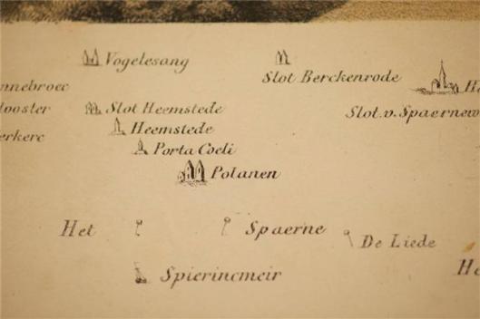 Fragment van oude kaart met Heemstede en omgeving uit: Kennemerland Balladen van W.J.Hofdijk