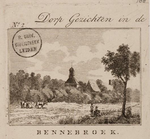 Gravure Bennebroek met kerk op de achtergrond. Uitgave van Hendrik Moolenijzer, circa 1810.