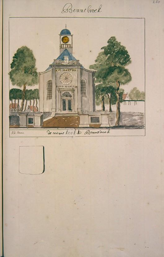 Kerk te Bennebroek. Uit: Atlas Andries Schoemaker, circa 1720 (Kon. Bibliotheek Den Haag)