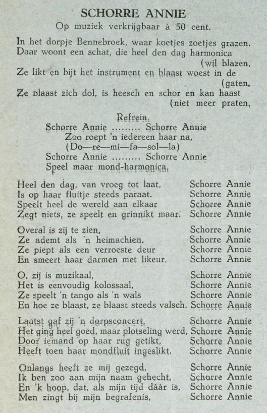 Een lied gewijd aan Bennebroek uit begin vorige eeuw (K.B./Meertens Instituut)