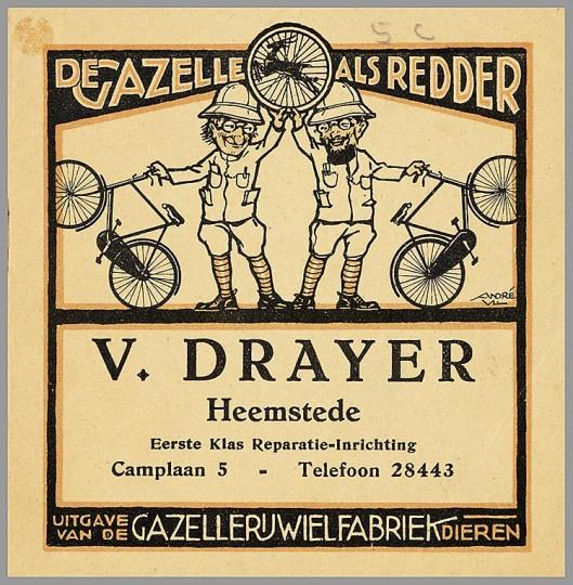 'De Gazelle als redder', advertentie uit 1931 van reparateur V.Drayer, Camplaan 5 Heemstede