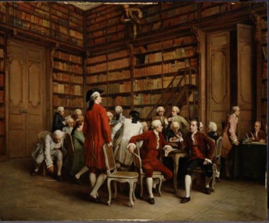 De Encyclopedisten bijeen in de koninklijke bibliotheek, Parijs. Schilderij van Eugène Fichel, 1860. Afgebeeld zijn o.a. Denis Diderot, J.L. d'Alembert, Jean-Silvain Nailly en Fréderique Melchior Grimm.
